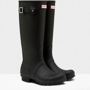 Hunter Original Tall Rain boots Matte Black Size 7
